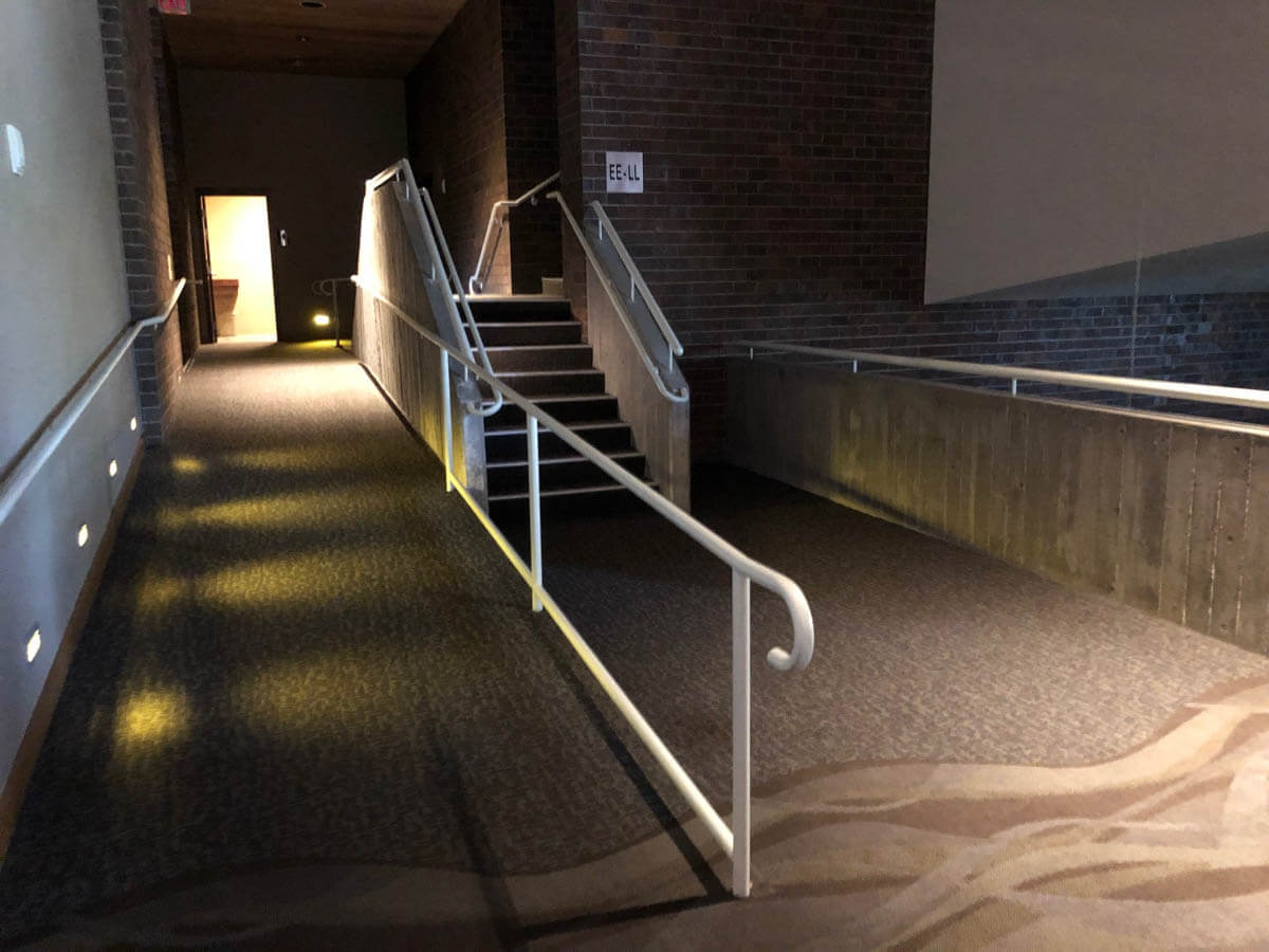 Photo of the ADA compliant ramps in the remodled portion of the Rapid City Civic Center.